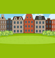 an outdoor scene with amsterdam building vector image vector image
