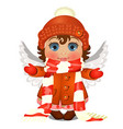 animated cute little girl with blue eyes in winter vector image