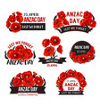anzac day lest we forget poppy ribbons vector image vector image