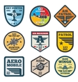 Army jet aviation air force labels patch vector image vector image