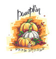 autumn with pumpkin rowan vector image vector image