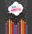 back to school card color pencils on blackboard vector image vector image