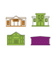 bank icon set color outline style vector image vector image