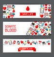 Banners with blood donation items medical and