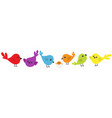 bird icon set line cute cartoon colorful vector image