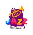 bright logo for jazz live concert original music vector image vector image