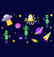 bright set with aliens cute aliens vector image