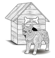 Bulldog standing in front of the doghouse vector image