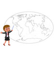 businesswoman showing on worldmap vector image vector image