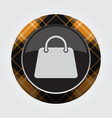 button with orange black tartan - handbag icon vector image