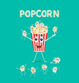 cartoon happy cute popcorn character for fastfood vector image