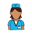 cartoon nurse staff care clinic uniform hat cross vector image vector image