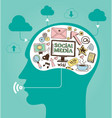 concept of social media with a human head vector image vector image