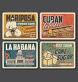 cuba travel landmark and tourism retro posters vector image