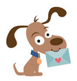 cute pen pal dog with envelope vector image vector image