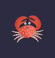 cute smiling crab isolated on dark background vector image