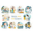 daily morning routine man and woman cartoon vector image vector image