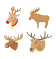 deer icon set cartoon style vector image vector image