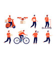delivery man service boy courier package young vector image vector image