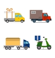 Delivery transport cargo truck and scooter vector image