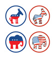 democratic donkey and republican elephant symbols vector image vector image