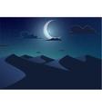 Desert landscapeDunes with crescent moon vector image vector image