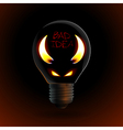 fire silhouette of devil in bulb vector image vector image