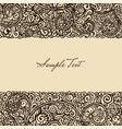 floral retro ink drawing card template vector image vector image