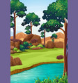 forest scene with river and field vector image vector image