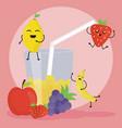 fresh juice fruits in glass kawaii characters vector image vector image