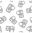 hand touch smartphone icon seamless pattern vector image vector image