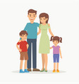happy family with children standing together vector image