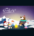 hello winter with animal cartoon and night snow vector image vector image