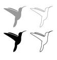 hummingbird icon outline set grey black color vector image