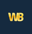initial letters wb w b with logo design vector image
