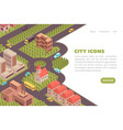 isometric city landing page vector image vector image
