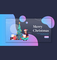 man holding gift present box merry christmas happy vector image vector image