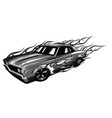 monochromatic vintage car hot rod garage hotrods vector image vector image