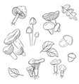 mushrooms pattern modern monochrome vector image vector image