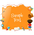 paper template with boy and school items vector image vector image
