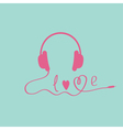 Pink headphones Blue background Love card vector image vector image