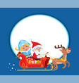 santa claus and snow maide on sleigh with deer vector image vector image