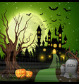 scary castle with pumpkins and bats in woods vector image vector image