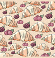 seamless hand drawn pattern with with croissants a vector image vector image