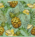 seamless pattern with pineapples and leaves vector image vector image