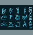 set engineering blue glowing neon icons vector image