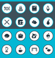 set of simple gastronomy icons vector image vector image