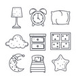 sleep time icons flat set with vector image
