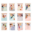 sleeping poses set vector image vector image