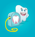 smiling tooth with floss box concept background vector image vector image